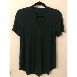 Mock Neck Cut Out Tee
